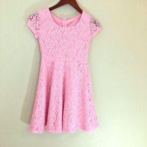 Pink lace overlay large girls dress fit and flare